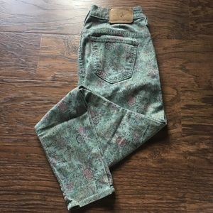 True Religion Green Blue Paisley Skinny Jeans